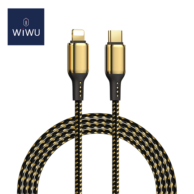 WiWU GD-103 USB-C to Lightning 18k Gold Plated 20w Fast Charging Cable Quick Charger Data Transfer for iPhone