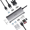 WIWU Alpha A11312H 10 in 1 USB-C Hub adapter type c docking station with 3*USB 2* HDMI 3.5mm audio VGA RJ45 card reader