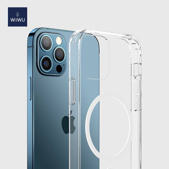 WiWU Clear Transparent Phone Case with Magnetic Wireless Charger Ring Shockproof iPhone Cover