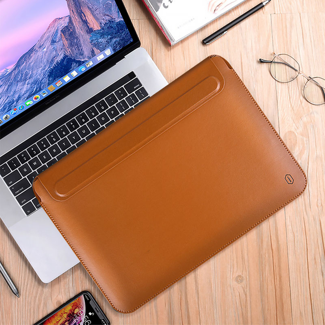 WiWU Skin Pro Portable Stand 13.3-16inch PU Leather Laptop Sleeve With Magnetic Cover for MacBook
